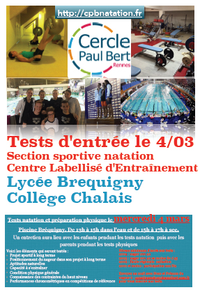 Cpb natation tests d'entr�e section sportive 2015/2016